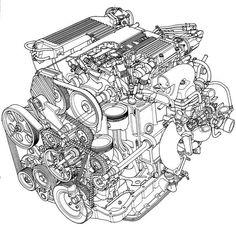 engine line art design pinterest engine, cutaway and technical evo x oil leak passenger side car engine diagram