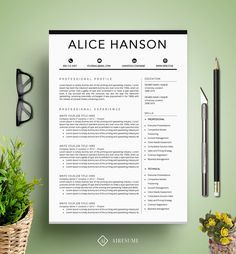 Modern Resume Template / CV Template + Cover Letter | Professional ...