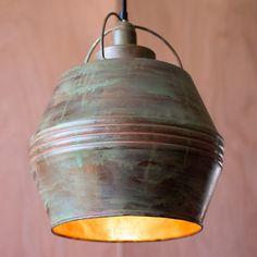 Copper Verdigris Pendant Light