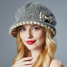Plaid bow knit hat for lady winter wear sweet style