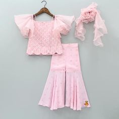 Pre Order: Pink Sequin Work Top And Sharara With Frilly Dupatta Baby Girl Frocks, Frocks For Girls, Dresses Kids Girl, Girl Outfits, Kids Dress Wear, Kids Gown, Kids Wear, Kids Frocks Design, Baby Frocks Designs