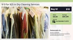 $10 for $25 in Dry Cleaning  #DryCleaning #Charleston