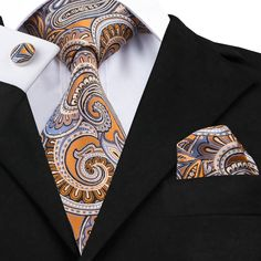 Hi-Tie Brand New Neck Tie Set Paisley Mens Tie Pocket Square Cufflinks Jacquard Silk Ties For Men Wedding Business Paisley Color, Paisley Tie, How To Store Ties, Women Ties, Tie Set, Tie And Pocket Square, Skinny Ties, Men Style Tips, Tie Knots