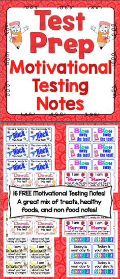 FREE Test Prep Motivational Notes: Give your students a boost before testing with these fun testing notes!