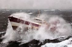 French Fishing Vessel 'Alf' in the Irish Sea. The French Fishing vessel Alf during a storm in Irish Sea. The crew of a Royal Navy vessel rushed to the aid of an injured fisherman trapped by bad weather on the Irish Sea. Photography Composition Techniques, Rogue Wave, Sea Pictures, Fishing Vessel, Irish Sea, Stormy Sea, Douro, Le Havre, Deep Sea Fishing