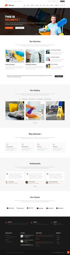 Helmets is a responsive business theme which perfectly suited Construction company, #Cleaning agency, Mechanic workshop and any kind of handyman business Website. #webdesign #templates