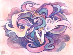 Pink and purple Princess Celestia (MLP:FIM) I think I see lady rainicorn from adventure time