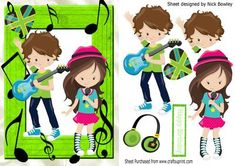 Lets make music boy and girl pop idol on Craftsuprint designed by Nick Bowley - Lets make music, boy and girl pop idol, makes a lovely card.