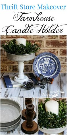 DIY Thrift Store Farmhouse Candle Holder - Brilliant DIY Thrift Store Crafts You Should Totally Try Farmhouse Candles, Farmhouse Decor, Farmhouse Style, Modern Farmhouse, Primitive Candles, Primitive Decor, Country Primitive, Country Decor, Old Candles