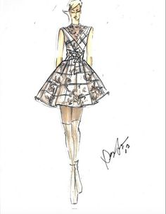 """Dennis Basso  """"My 30th anniversary collection is a tribute to the great American fashion icons. Women such as Babe Paley, Gloria Guinness, and Milicent Rogers embody the glamour, strength and elegance that has inspired me throughout my career."""" - Designer Dennis Basso  #fashionillustration #croquis #fashionsketch #dennisbasso"""