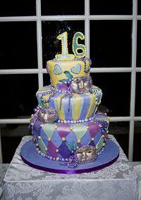 Mardis Gras sweet sixteen cake, multi-level with harlequin purple, yellow and light blue fondant