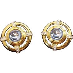 Monet Large Round 3-D Ice Blue Goldtone Metal Clip on Earrings.  Vintage Jewelry under $25 at Ruby Lane @Ruby Lane