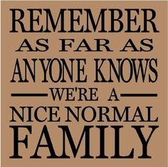 Remember as far as anyone knows we're a nice normal family vinyl wall decals lettering sayings quote stickers from VinylLettering on Etsy. Toys Quotes, Funny Quotes, Quotes Quotes, Quotable Quotes, Great Quotes, Quotes To Live By, Inspirational Quotes, Awesome Quotes, Motivational Quotes