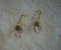 Earrings Made with Swarovski Crystals - Clear/Gold
