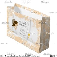 First Communion Brunette Hair Girl Thank You Large Gift Bag Holiday Cards, Christmas Cards, First Communion Invitations, Custom Gift Bags, Large Gift Bags, Brunette Hair, Christmas Card Holders, Invitation Design, Girl Hairstyles