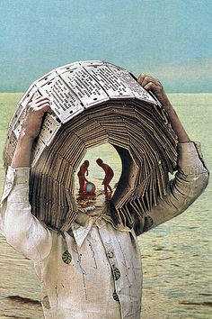 Mans book head, children playing on beach inside, head, Self-Conditioning Surreal photo manipulation,