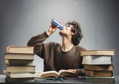 Buy Young man studying and drinking energy drink. Young man drinking energy drink while studying. Organic Energy Drinks, Healthy Energy Drinks, Healthy Pancake Mix, College Drinks, Network For Good, Man Photo, Types Of Food, Drinking, Health Fitness