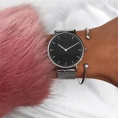 ace9c9e37 Mavis Hare Silver White & Black dial Mesh Women watches Stainless Steel  wristwatch with Crystal Cuff Bangle as Gift