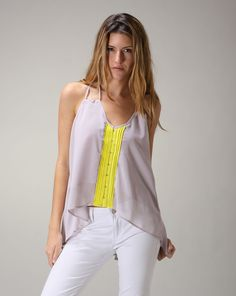 Amy says: The double strap on this tank top is the perfect detail. And I love the neon stripe, another great piece to layer or wear itself if you are in sunny weather. Sunny Weather, Sunnies, Amy, Neon, Tank Tops, Detail, How To Wear, Halter Tops, Sunglasses
