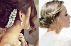 A low twisted bun with soft curls framing the face. Great #wedding day hairstyle.