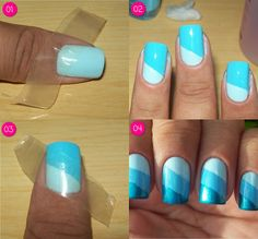 Step by step nail decorated in Diagonal Gradient Blue
