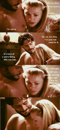 True blood - Alcide and Sookie....As much as I like Bill I hope Alcide and Sookie stay together.