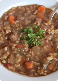 Slow cooker beef barley soup - delicious! For cooking - I put meat and broth in crockpot in the morning on low. Added veggies and barley at lunch and kept on low. Possibly a little less time on barley - meat in am, veggies at noon, barley 2 hours before serving? (LL 10/31/12)