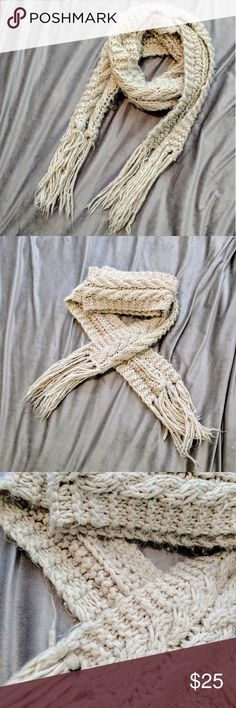"""Warm Winter Scarf Super long winter scarf. Measures to be 94.5"""" without including the tasseled ends! Warm and cozy. Cream color. Accessories Scarves & Wraps"""
