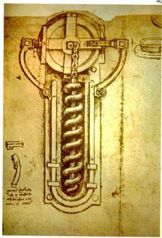 Schematic of flint wheel for firing a weapon with black powder (Codex Atlantic f.56v.-b.)