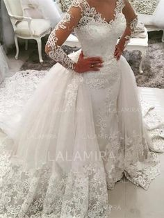 Cheap ball gown wedding dresses, Buy Quality wedding dress directly from China bridal gown dress Suppliers: Vestidos De Novia White V Neck Ball Gown Wedding Dress 2017 Robe De Mariage Wedding Bridal Gowns Dress With Lace Appliques Trumpet Style Wedding Dress, V Neck Wedding Dress, Applique Wedding Dress, Wedding Dresses For Girls, Long Sleeve Wedding, Bridal Dresses, Wedding Gowns, Tulle Wedding, Mermaid Wedding