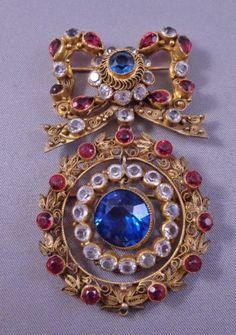 Fabulous Vintage HOBE Double Pin/Pendant w/ Rhinestones 1930s-1940s Signed