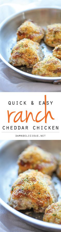 The cheddar ranch topping on this chicken is inedibly salty. Ranch Cheddar Chicken - The quickest and easiest baked chicken with an amazingly creamy, cheesy Ranch topping! Yummy Recipes, Cooking Recipes, Healthy Recipes, Recipies, Freezer Cooking, Cooking Tips, Ranch Cheddar Chicken, Turkey Recipes, Chicken Recipes
