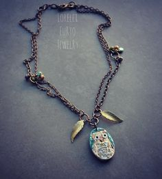Hoot Owl Necklace on Brass Chain by LoreleiEurtoJewelry on Etsy