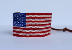 American Flag Seed Bead Cuff Bracelet by JPAdornments on Etsy