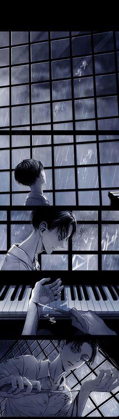 levi in the rain