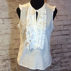 HANNA & GRACIE WHITE SWISS DOT RUFFLED TOP Swiss dot ruffled blouse with a tie neck. Gently used Hanna & Gracie Tops Blouses