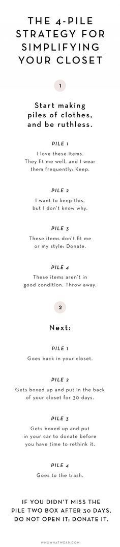 The 4-Pile Strategy for Simplifying Your Wardrobe via /WhoWhatWear/