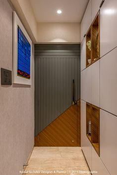 This Apartment is an Excellent Showcase for a Two Room House Design, A blue wall art graces the foyer along with a full length shoe cabinet behind the geometric patterned door,. Bedroom Door Design, Door Design Interior, Foyer Design, House Design, House Main Door Design, Home Gate Design, Exterior Design, Main Entrance Door Design, Front Door Design