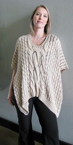 Cables are not only for cold-weather garments. Lots of dropped stitches and a summery yarn (Rowan Panama) create a breezy, flowing fabric that plays around your figure. Ravelry: Silver Lake Poncho pattern by Daniela Nii