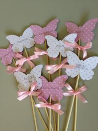 Entertaining on a budget. Print names or special sayings onto scrapbook paper. Use a punch to cut out shapes and glue onto wooden skewers.