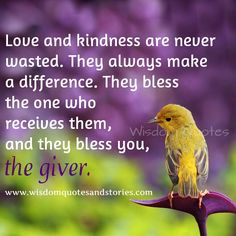 """""""Love and kindness are never wasted. They always make a difference. They bless the one who receives them, and they bless you, the giver."""" ~ Barbara De Angelis Share your thoughts on what this post means to you. Morning Quotes Images, Good Morning Inspirational Quotes, Morning Greetings Quotes, Good Morning Messages, Good Night Quotes, Good Morning Wishes, Morning Sayings, Motivational Quotes, Happy Morning"""