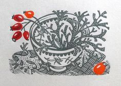 Angie Lewin 'Spey Lichen' wood engraving - one of the limited edition prints to… Gravure Illustration, Graphic Illustration, Stamp Printing, Screen Printing, Angie Lewin, Elsa Beskow, Wood Engraving, Illustrations, Linocut Prints