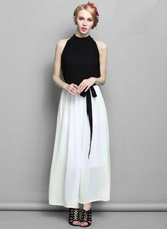 Sleeveless Black and White Maxi Dress