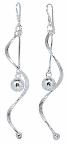 8mm Ball Drop Spiral Dangle Earrings for Women's 925 Sterling Silver [ISE0062] #BKGjewelry #DropDangle