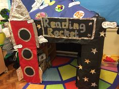 Space Rocket Reading Area by Louise Knight Book Corner Eyfs, Space Rocket, Book Corners, Plays, Knight, Transportation, Reading, School, Birthday