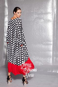 NEW Collection Maxi dress with long sleeves/Polka dot