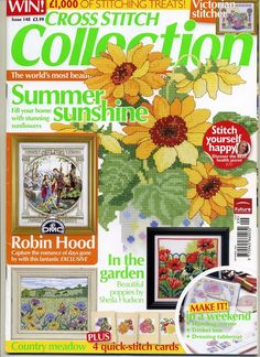 Cross Stitch Collection 148 2007 Summer Sunshine; sun flowers, pasture with flowers, home sampler, poppies