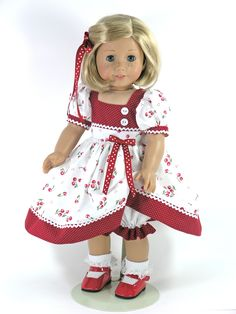 Handmade 18 inch Doll Dress for American Girl - Dots and Cherries - Exclusively Linda Doll Clothes