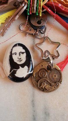 Gioconda Fridge Magnet, River Pebble Magnet, Original Stone Magnet, Personalized Keychain Rock Unique Surprise Handmade with Love Charm Gift