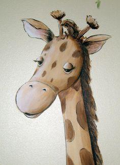 Giraffe - Whimsical Jungle Nursery Mural | This is a close u ...